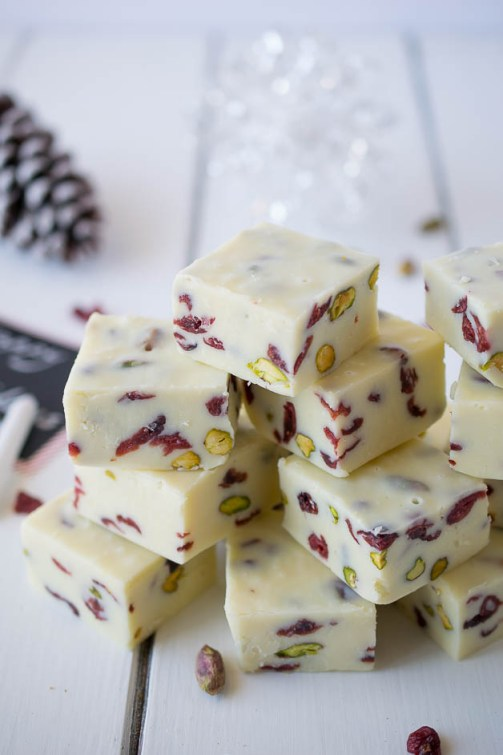 White chocolate pistachio cranberry fudge takes only minutes to make and is also great for gifts