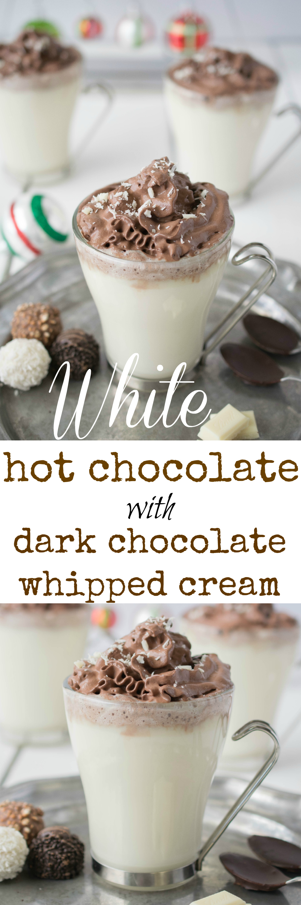 White hot chocolate with dark chocolate whipped cream piped on the top. It's a chocolate-fest that is a warm and comforting drink and will satisfy all chocolate lovers.