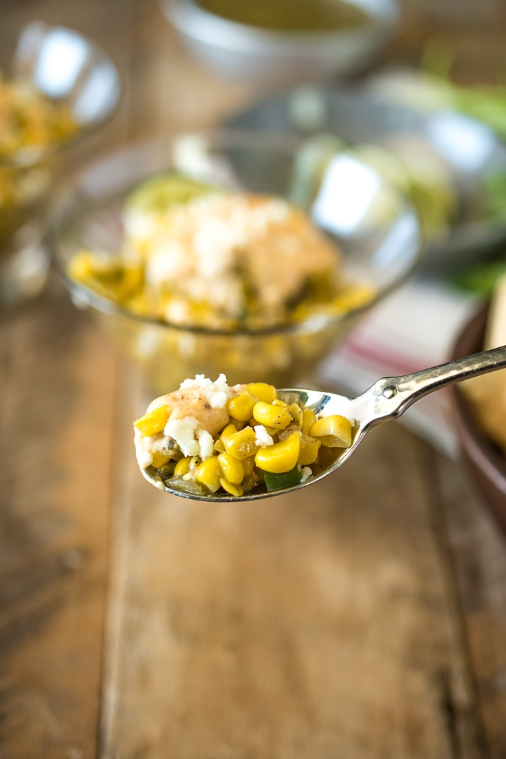 Esquites Mexican Street Corn Salad on a spoon