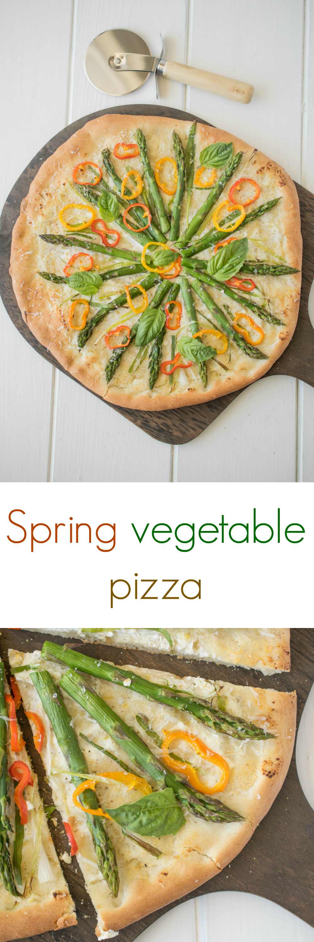 Spring vegetable pizza has a lemon, basil ricotta, asparagus, spring onions and sweet peppers.