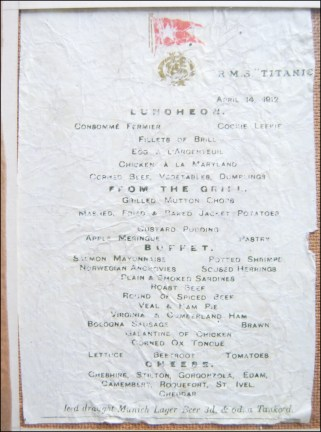 RMS Titanic, Luncheon menu - 14 April 1912 View Record
