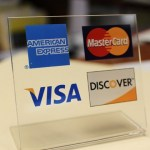 Credit card logos table placard