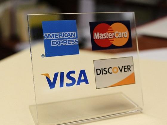 Credit card logos table placard