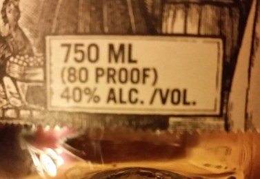 liquor bottle label showing proof and AlcC/vol