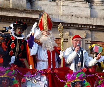sinterklaas and zwarte piet in Amsterdam, Netherlands during the singerklaas (Saint Nicholas) festival