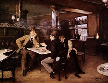 At the bistro painting by Jean Béraud
