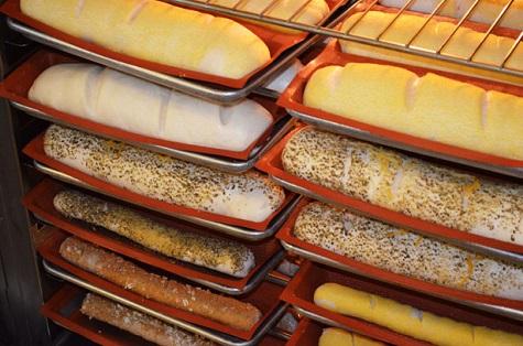 fresh bread in racks