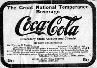 Coca-Cola The Great National Temperance Beverage, major slogan from 1906