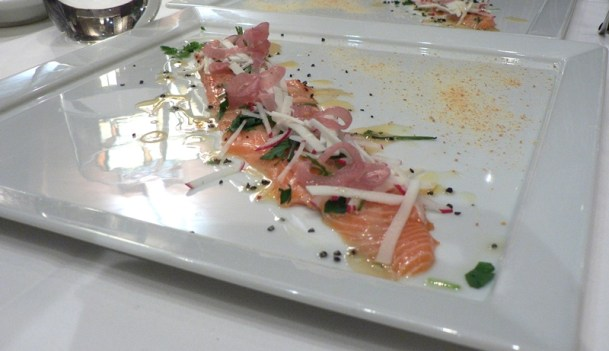 salmon crudo dish (raw)