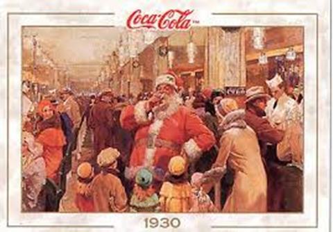 1930 Fred Mizen Department Store Santa drinking a Coke vintage ad