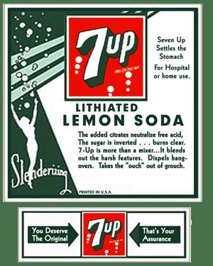 early 7up lithiated lemon soda ad