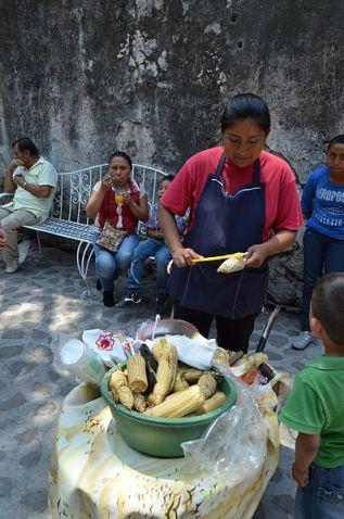 elote vender in Chiconcuac Morelos, Mexico