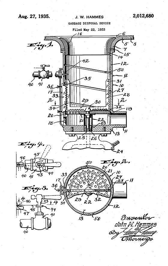 garbage disposal patent image