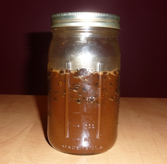Working Batch of Homemade Coffee Liqueur, with Chocolate