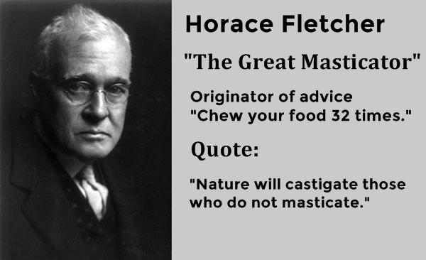 Horace Fletcher, the Great Masticator, origin of chew your food 32 times