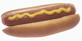 Hot dog with mustard isolated