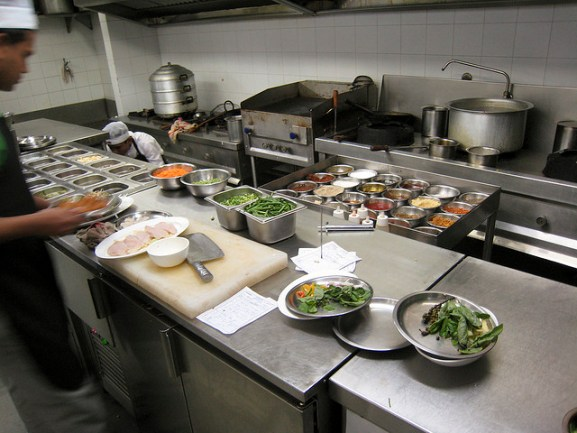 Mise en place in a professional restaurant kitchen