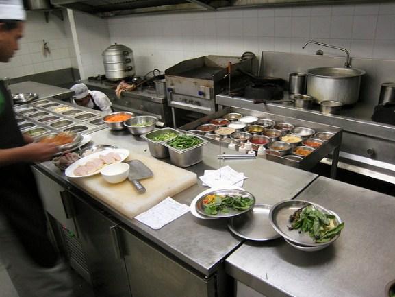 Mise en place in a professional restaurant kitchen