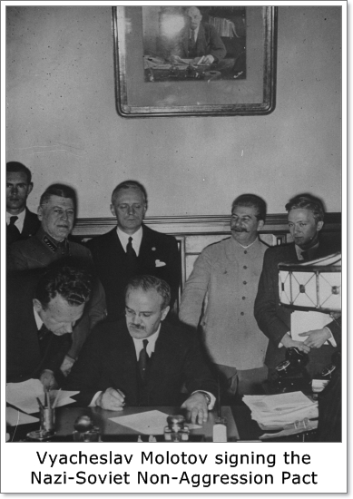 Vyacheslav Molotov, namesake of the Molotov Cocktail, signs the infamous Pact of Steel, or the Nazi-Soviet nonaggression pact of 1939.