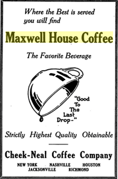 Old print ad for Maxwell House coffee, circa 1921