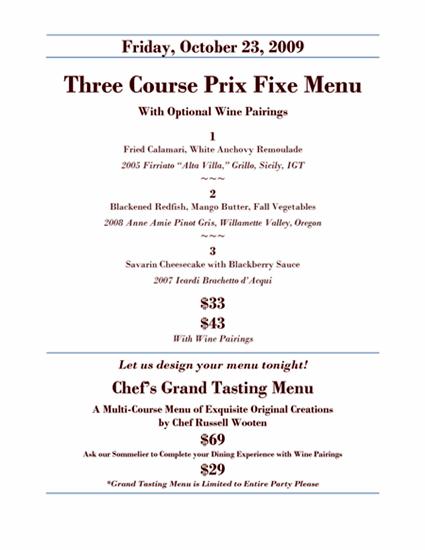 prix fixe menu examples