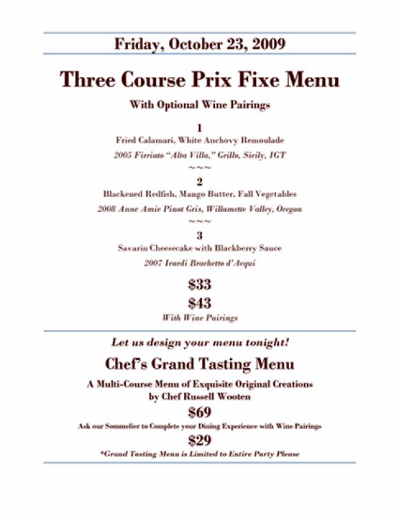 A prix fixe menu example.