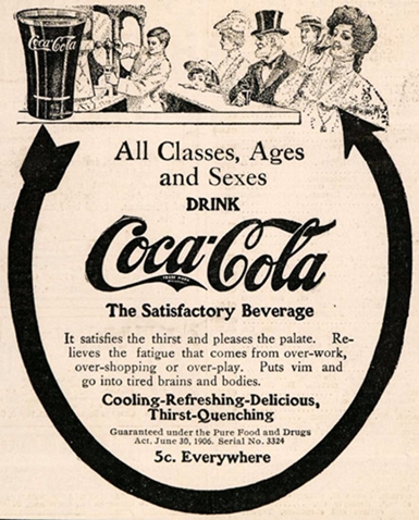 Coca-Cola 'Satisfactory Beverage' slogan was used from 1908 to 1912(?)