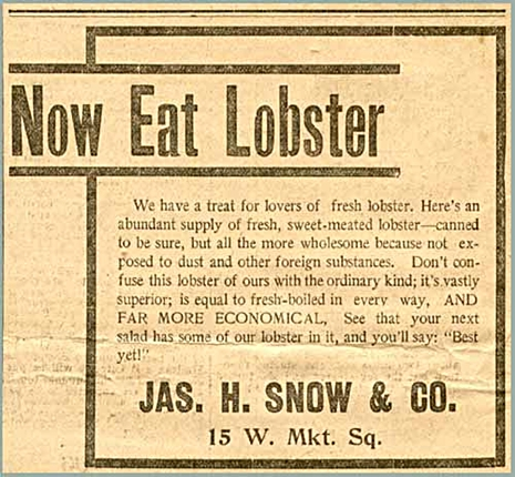 early ad for Snow Canned Lobster