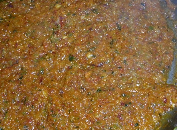 Spanish Sofrito cooking closeup