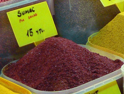 Sumac spice for sale at a market in Istanbul, Turkey