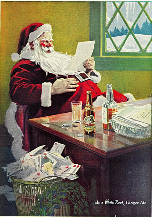1923 White Rock Mineral Water (and Ginger Ale) Santa-Claus vintage Ad