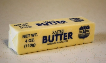 wrapped stick of butter with markings