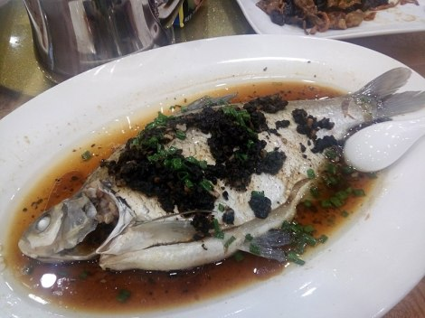 Chinese whole steamed fish with black bean