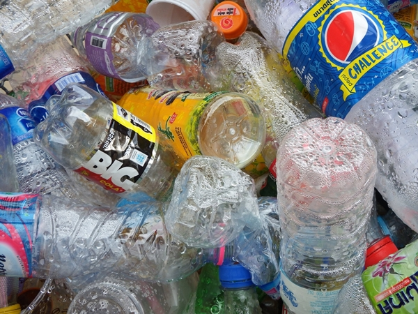 pile of plastic bottles for recycling