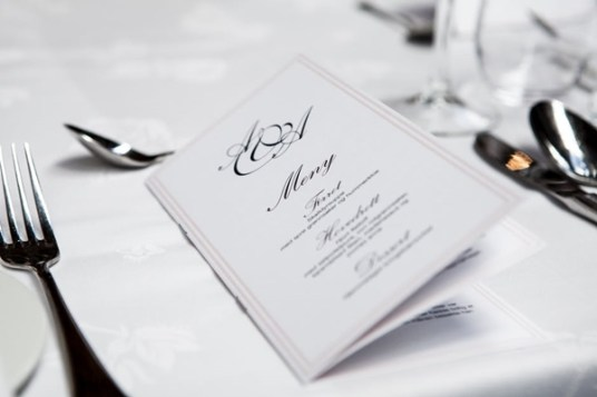 restaurant menu on table