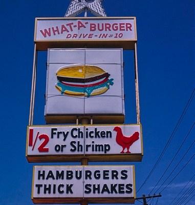 Whataburger sign, 1982, Kannapolis, North Carolina