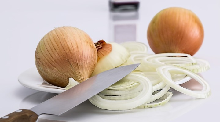 Sliced yellow onions