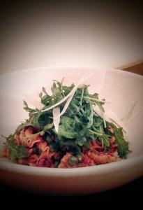 Roasted Red Pepper & Garlic Creste with Basil Pesto & Wild Mushrooms