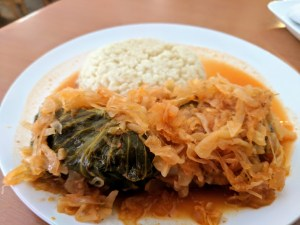Stuffed Cabbage with Homemade Noodles & Sauerkraut