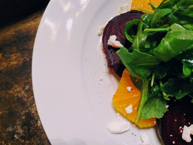 Roasted Beet, Orange & Arugula Salad