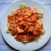 Salmon Pasta with Vodka Cream Sauce