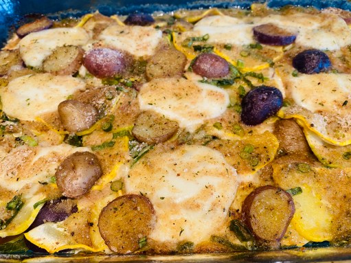 Yellow squash and root veg gratin whole dish