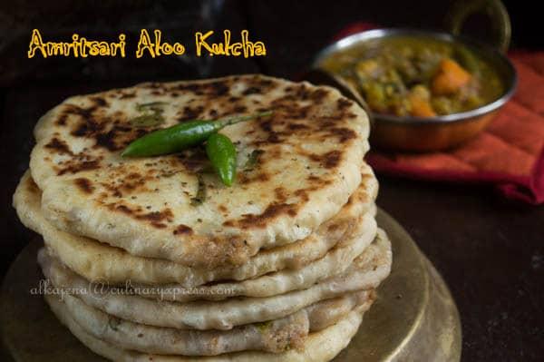 Amritsari aloo kulcha potato stuffed indian flat bread for Amritsari cuisine