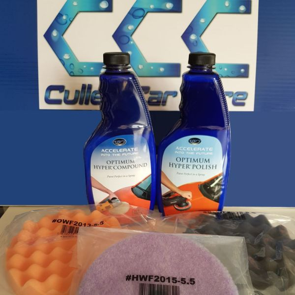 Optimum Hyper Compound + Optimum Hyper Polish + Set of 3 Polishing Pads at Cullen Car Care Detailing Products