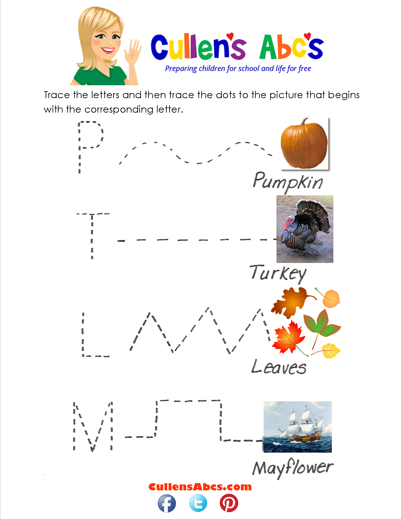 Thanksgiving Language Arts Worksheet For Kindergarten