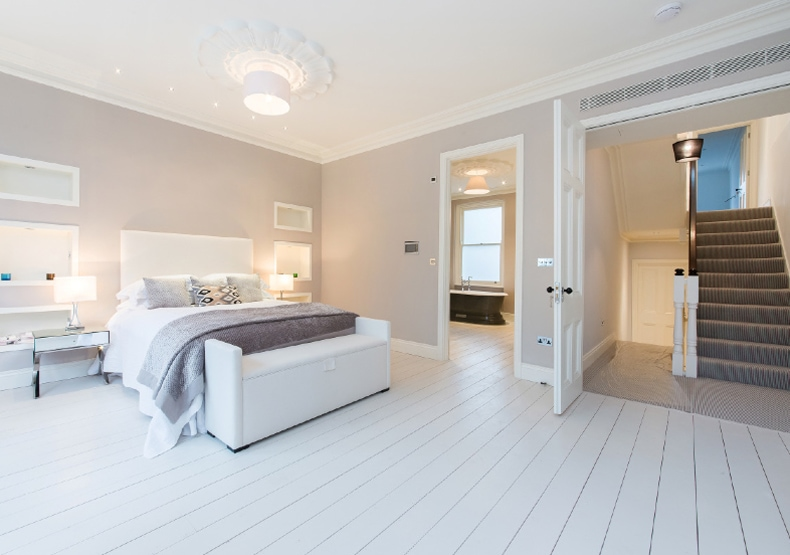 A contemporary bedroom staged by Cullum Design   London UK