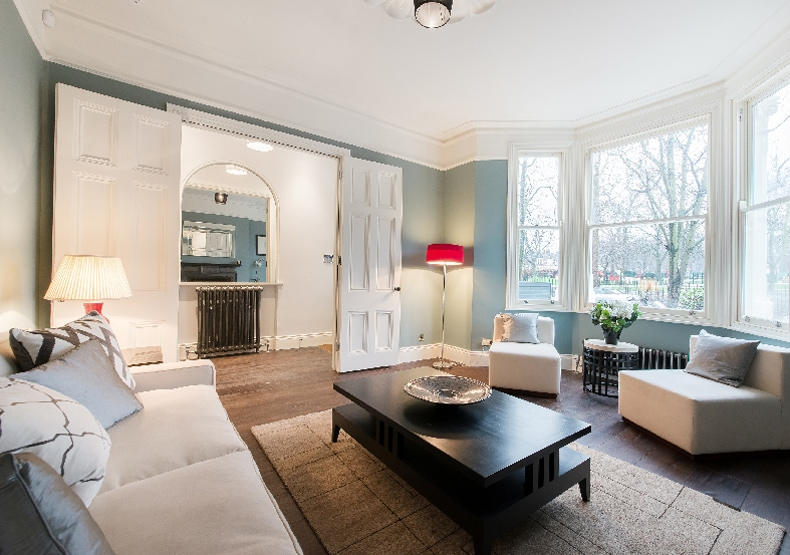 A classic contemporary reception room home staged by Cullum Design   London UK
