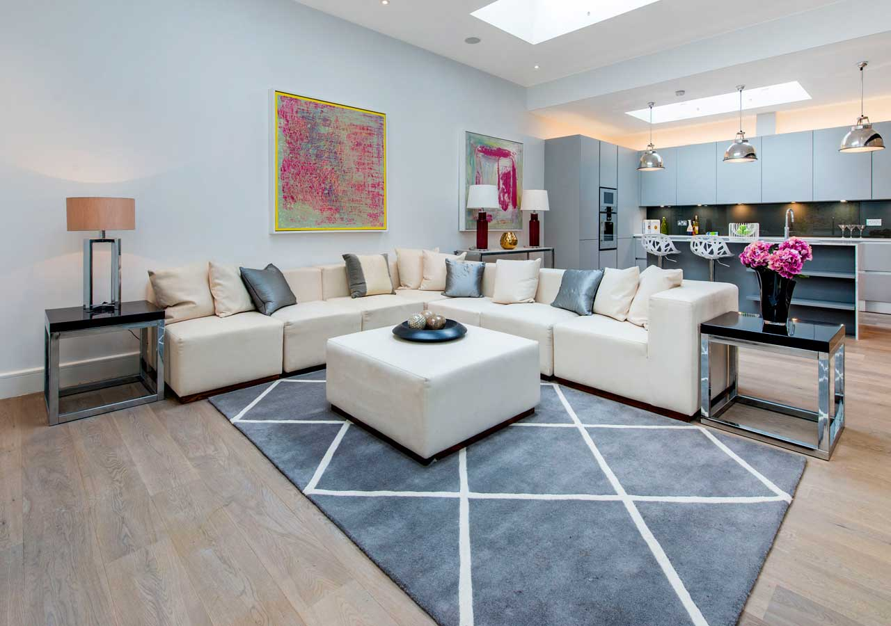 light and spacious basement reception room home staged by Cullum Design   London UK