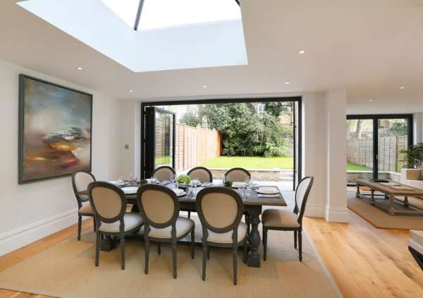 light and spacious open plan dining area home staged by Cullum Design   London UK