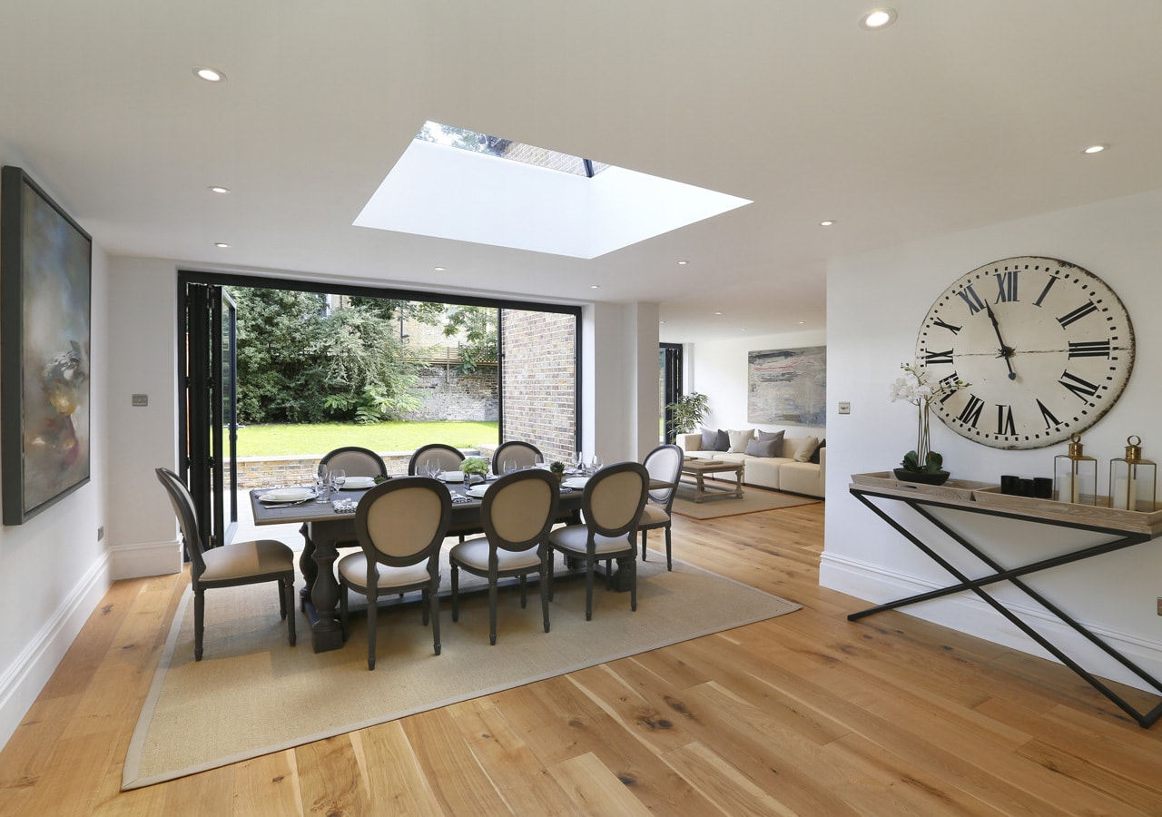 light and spacious open plan dining area home staged by Cullum Design | London UK
